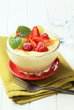 Creamy pudding with fresh fruit Stock Images