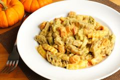Creamy pumpkin pasta Royalty Free Stock Images
