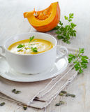 Creamy pumpkin soup Stock Image