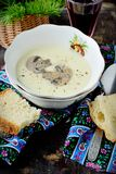 Creamy puree soup with mushrooms Royalty Free Stock Images