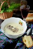 Creamy puree soup with mushrooms Royalty Free Stock Photos