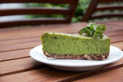 Creamy raw vegan kale pie served on plate Stock Image