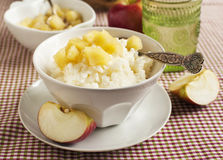 Creamy rice pudding with apple sauce Royalty Free Stock Images