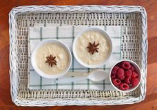 Creamy rice pudding with raspberries Royalty Free Stock Image