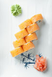 Creamy salmon roll above view Stock Images
