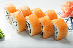 Creamy salmon roll closeup Royalty Free Stock Image
