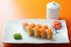 Creamy salmon roll Stock Photos
