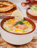 Creamy salmon soup Stock Photos