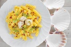 Creamy Scallop Fusilli Pasta Royalty Free Stock Photo