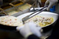 Creamy seafood Fettuccine alfredo pasta dish Royalty Free Stock Image