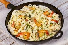 Creamy Shrimp and Mushroom Pasta. Stock Photography