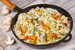 Creamy Shrimp and Mushroom Pasta. Royalty Free Stock Photos