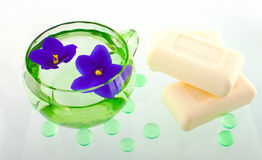 Creamy soap bars in a SPA composition Stock Image