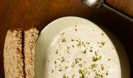 Creamy soup in autumn on wood Royalty Free Stock Image