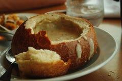 Creamy Soup in bread Stock Photos