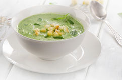 Creamy soup with croutons . Royalty Free Stock Photos
