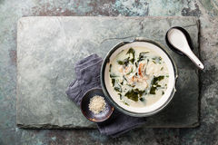 Creamy soup with Eel and sesame Royalty Free Stock Photos