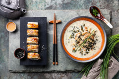 Creamy soup with Eel Stock Photo