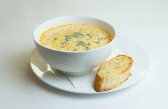 Creamy soup with salmon Royalty Free Stock Photography