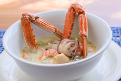 Creamy soup with seafood Royalty Free Stock Photos