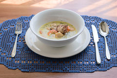 Creamy soup with seafood Royalty Free Stock Photography
