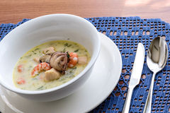 Creamy soup with seafood Royalty Free Stock Photo