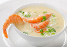 Creamy soup with  seafood Royalty Free Stock Image