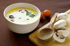 Creamy soupe. With mushrooms and olives Stock Image