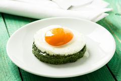 Creamy spinach with fried egg Stock Images