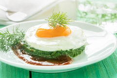 Creamy spinach with fried egg Royalty Free Stock Photo