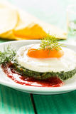 Creamy spinach with fried egg Stock Photography