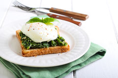 Creamy spinach and poached egg toast Royalty Free Stock Images