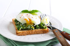 Creamy spinach and poached egg toast Royalty Free Stock Photography