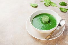 Creamy spinach soup in bowl. Healthy and diet food. Creamy spinach soup in bowl. Healthy food royalty free stock image