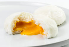 Creamy steamed bun Stock Photo