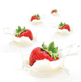 Creamy strawberries Royalty Free Stock Photo