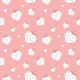 Seamless vector pattern with creamy strawberry. Creamy strawberry. Seamless vector pattern Stock Images