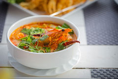 Creamy Tom Yum Kung. Thailand sour and spicy shrimp soup Royalty Free Stock Images