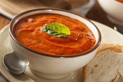 Creamy Tomato Basil Bisque Soup Stock Images