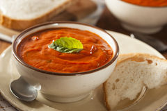 Creamy Tomato Basil Bisque Soup Royalty Free Stock Photo