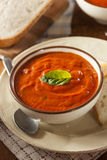 Creamy Tomato Basil Bisque Soup Stock Photo