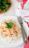 Creamy Tomato Chicken on Rice Stock Image