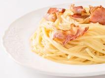 Creamy traditional italian spaghetti carbonara pasta Stock Image