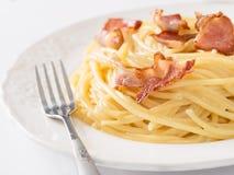 Creamy traditional italian spaghetti carbonara pasta Royalty Free Stock Image