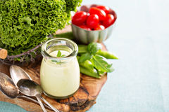 Creamy vegan avocado sauce Stock Photography