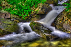 Creamy waterfall in the forest stock photo