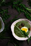 CREAMY WILD GARLIC SOUP WITH DANDELION LEAVES. Style rustic.selective focus stock images