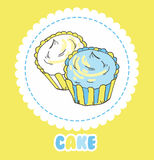 Creamy yellow and blue cupcakes on white. Vector illustration ca Stock Image