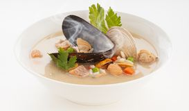 Crean seafoods soup. Delicious and hot seafoods cream soup royalty free stock photography