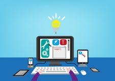 Creando un App y la prueba de él en diversos teléfonos de las tabletas o de la pantalla táctil Clip art Editable